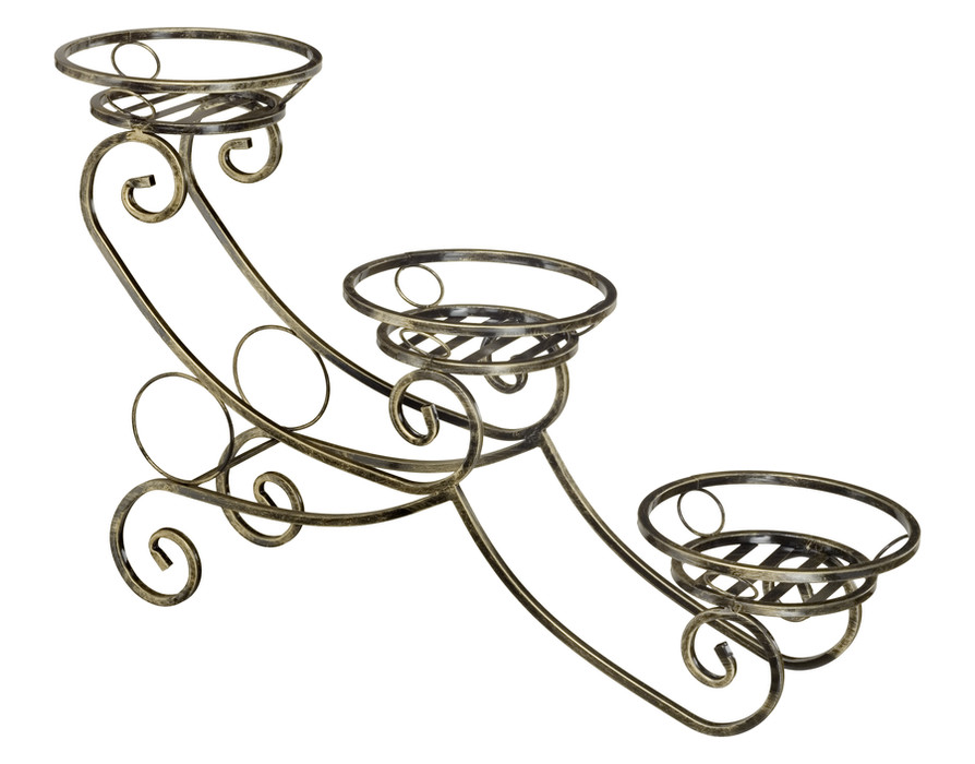 Sled-shaped 3-pot plant stand Model 142