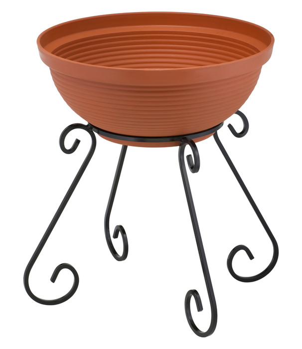 1-bowl tall column plant stand Model 445